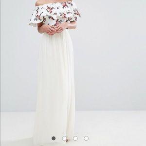 White Bardot maxi dress with floral detail